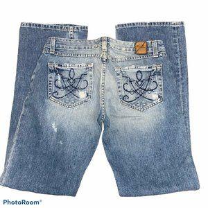 BKE Denim Jeans Sierra Boot Cut Light Wash Distres